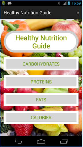 Screenshots of Healthy Nutrition Guide