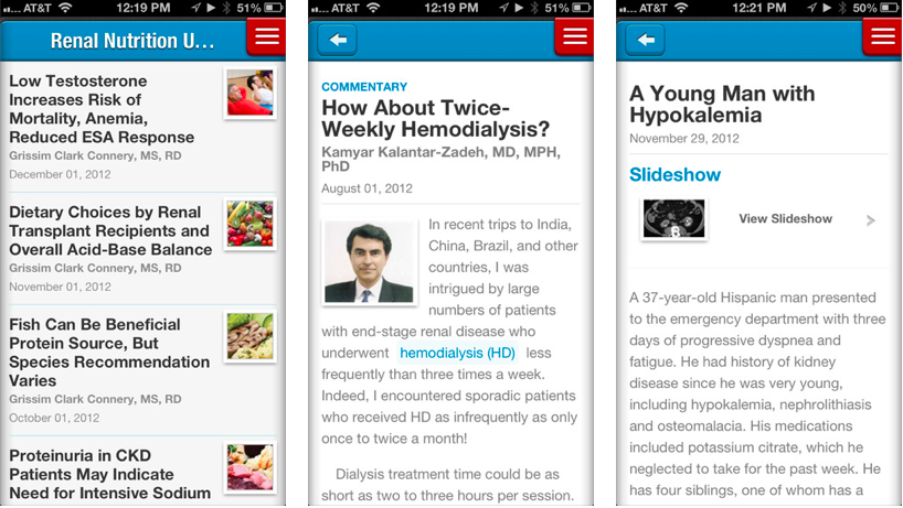 Screenshots of Renal & Urology News