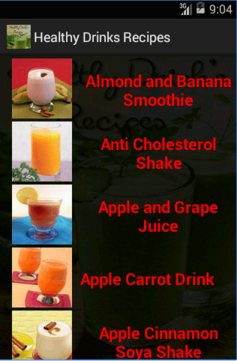 Screenshots of Healthy Drinks Recipes