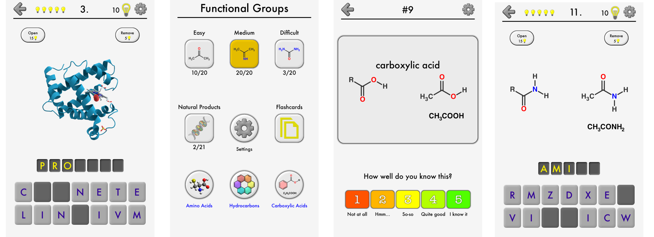 Screenshots of Functional Groups in Chemistry