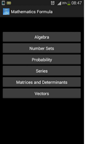 Screenshots of Mathematics Formulas