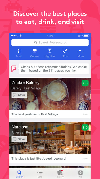 Screenshots of Foursquare - Find Places to Eat, Drink and Visit