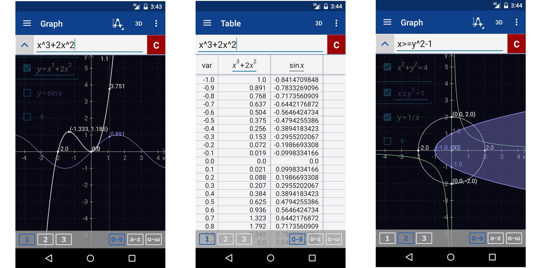 Screenshots of Graphing Calculator by Mathlab
